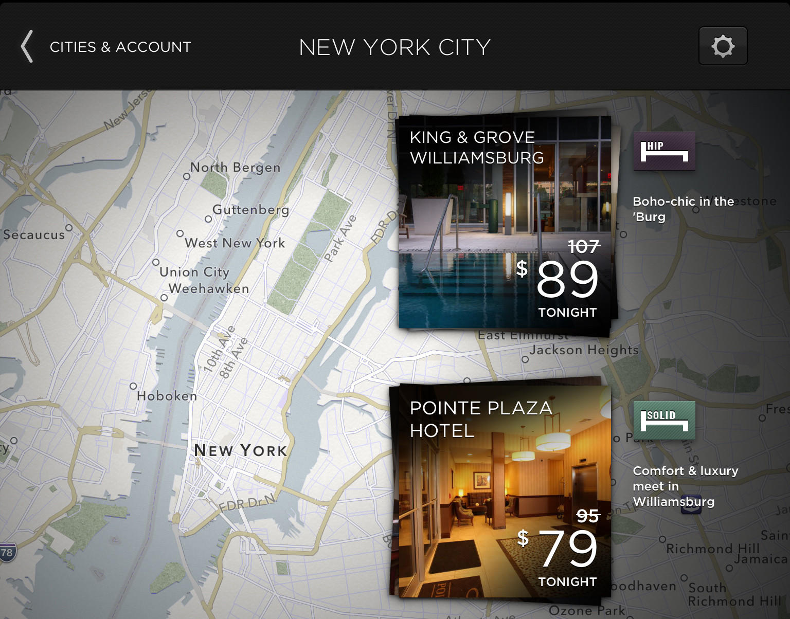A screenshot of HotelTonight, same-day hotel booking app.