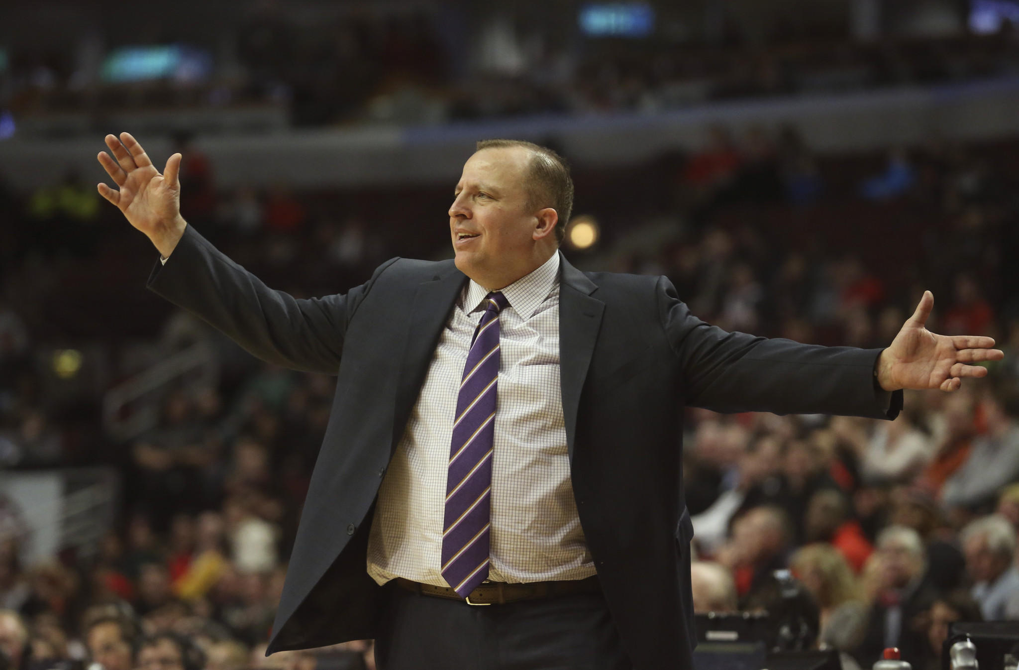 Chicago Bulls coach Tom Thibodeau, during the second half of his team's game against the Phoenix Suns, at the United Center.
