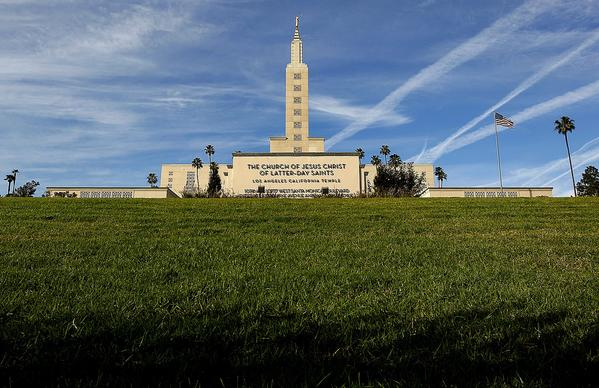 The Mormon temple in 2013, whose landmark hill was formed by the Santa Monica fault.