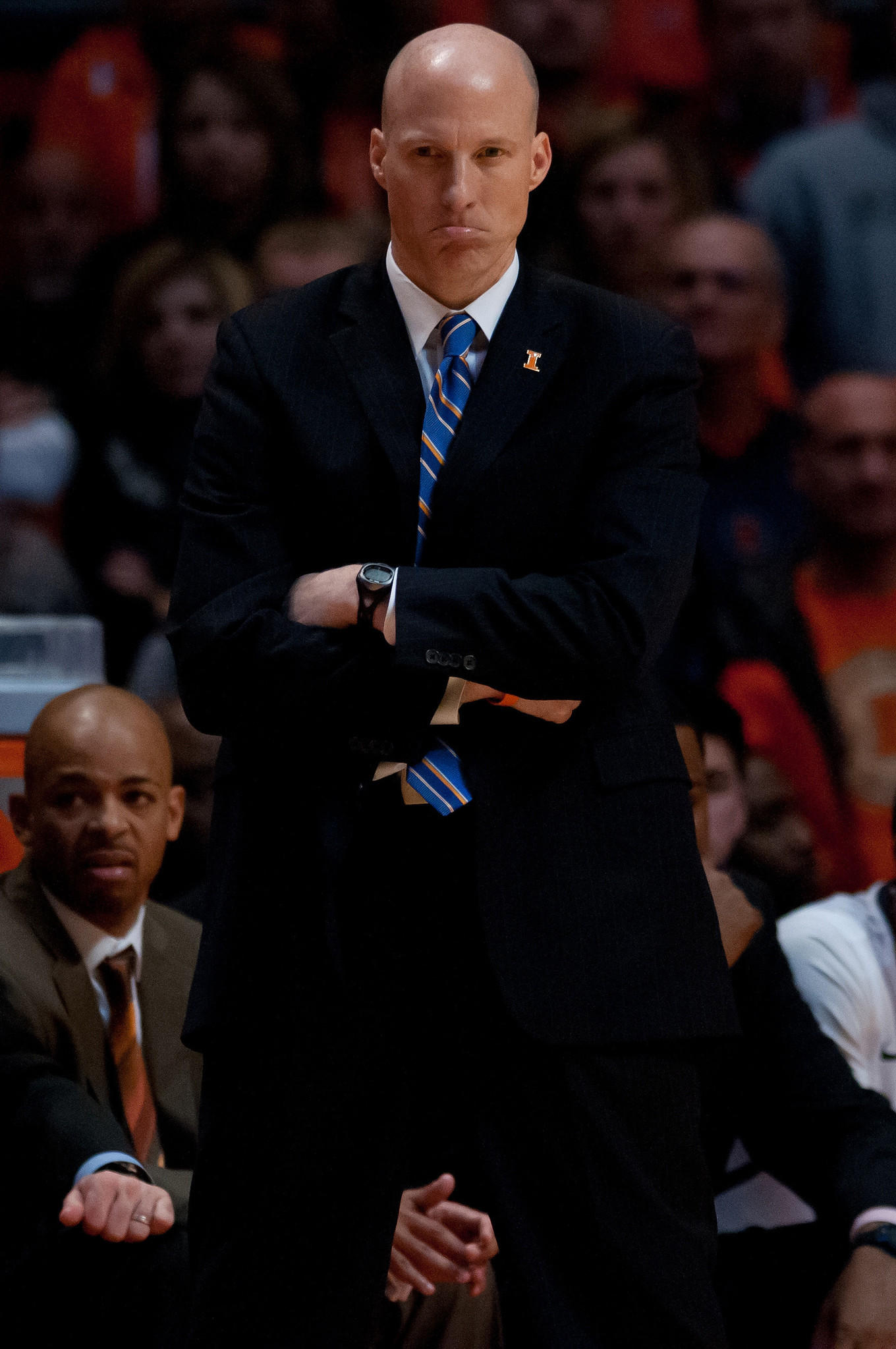 Illinois Fighting Illini head coach John Groce stands on the sidelines during the second half against the Purdue Boilermakers at State Farm Center.