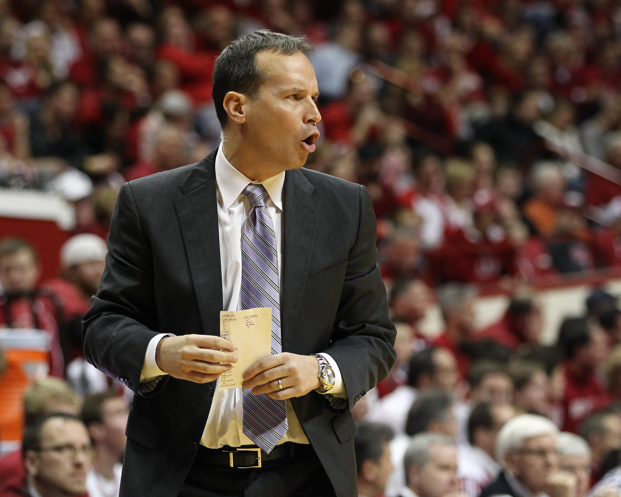 Northwestern head coach Chris Collins on the sidelines during the first half against the Indiana Hoosiers at Assembly Hall.