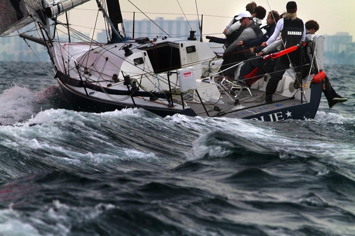 Sailors hug the rail on True at Wednesday's start of the Fort Lauderdale to Key West Race.