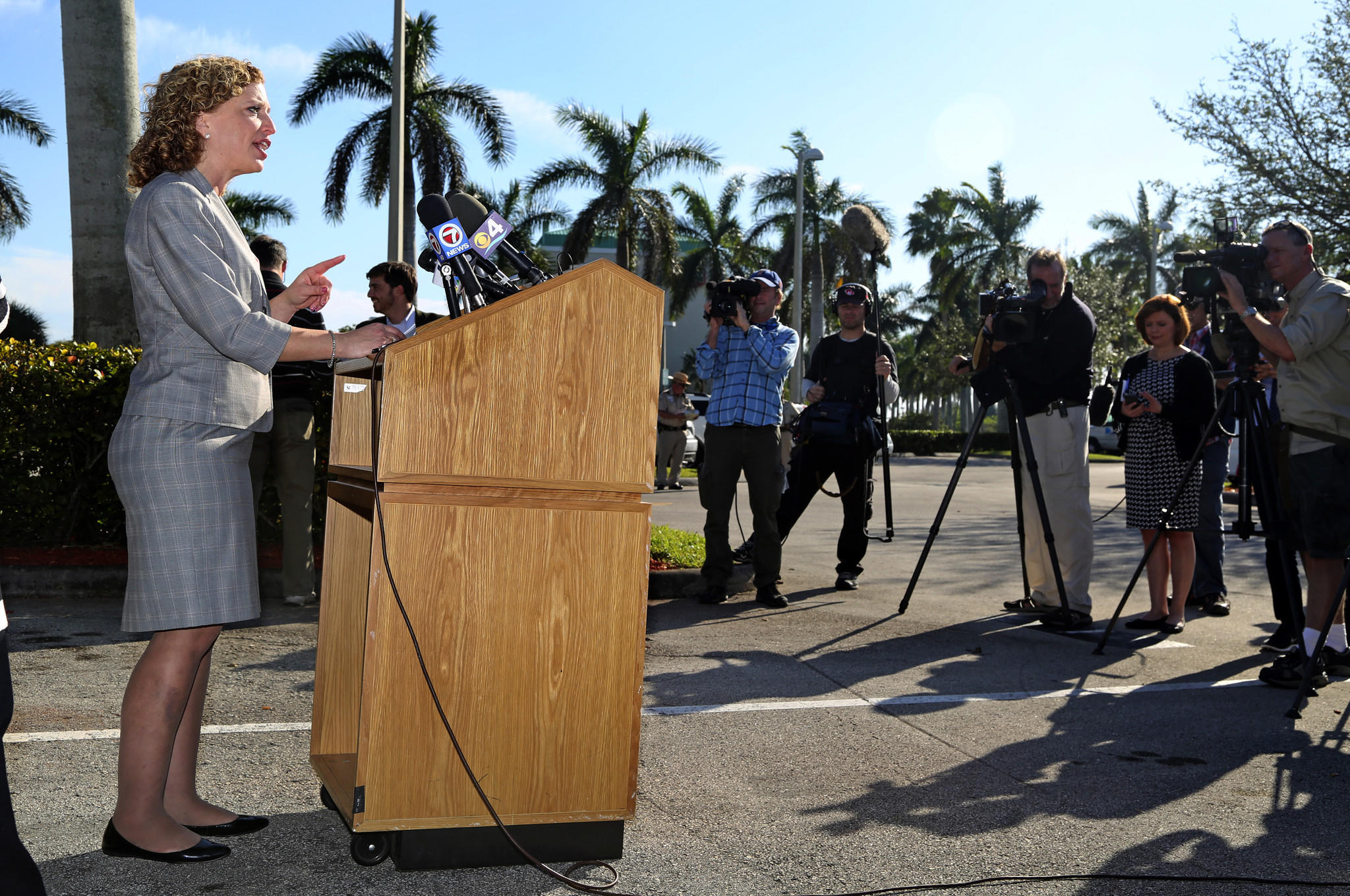 DNC Chair Debbie Wasserman Schultz and Florida Democratic Party Officials held a press event in Dania Beach on Saturday afternoon to respond to New Jersey Gov. Chris Christies Florida trip and to discuss Gov. Rick Scotts failed record. Mike Stocker, Sun Sentinel