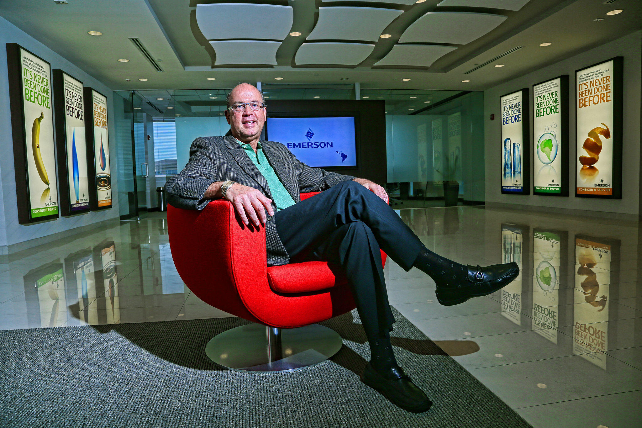 Leonardo Rodriguez, President of Emerson's Latin American division, is shown in the company's Latin American headquarters in Sunrise on Wednesday.