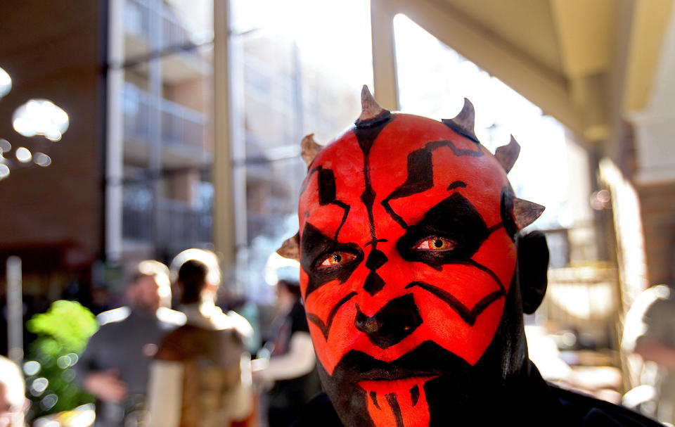 Hex Nottingham made up as Darth Maul from Star Wars makes an appearance at MarsCon Saturday in WIlliamsburg. No Mags, No Sales, No Internet, No TV
