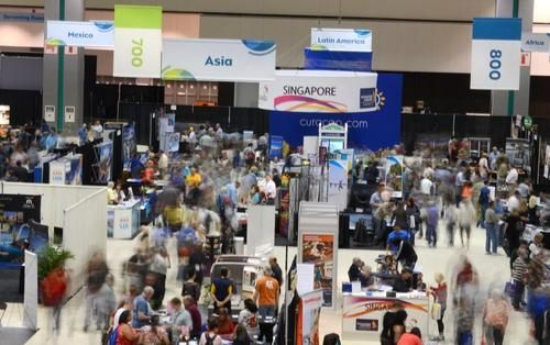 Visitors on the floor of the L.A. Times Travel Show.