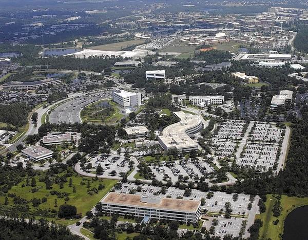 The Army-Navy simulation training agencies' complex is shown here (center right) at the Central Florida Research Park. From hiring freezes to furloughs, they are bracing for fallout from the sequester budget cuts.