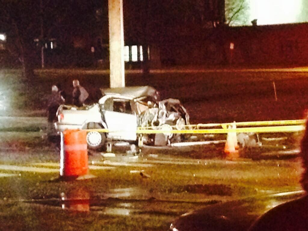 Police investigate a serious crash in the area of Willard Avenue and Veterans Drive in Newington late Sunday night.