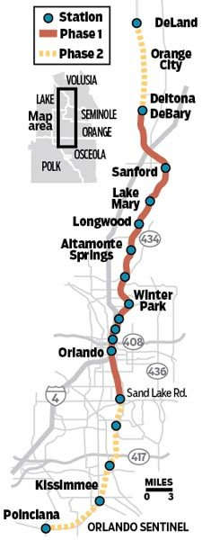 Map: See SunRail's proposed route   Orlando Sentinel