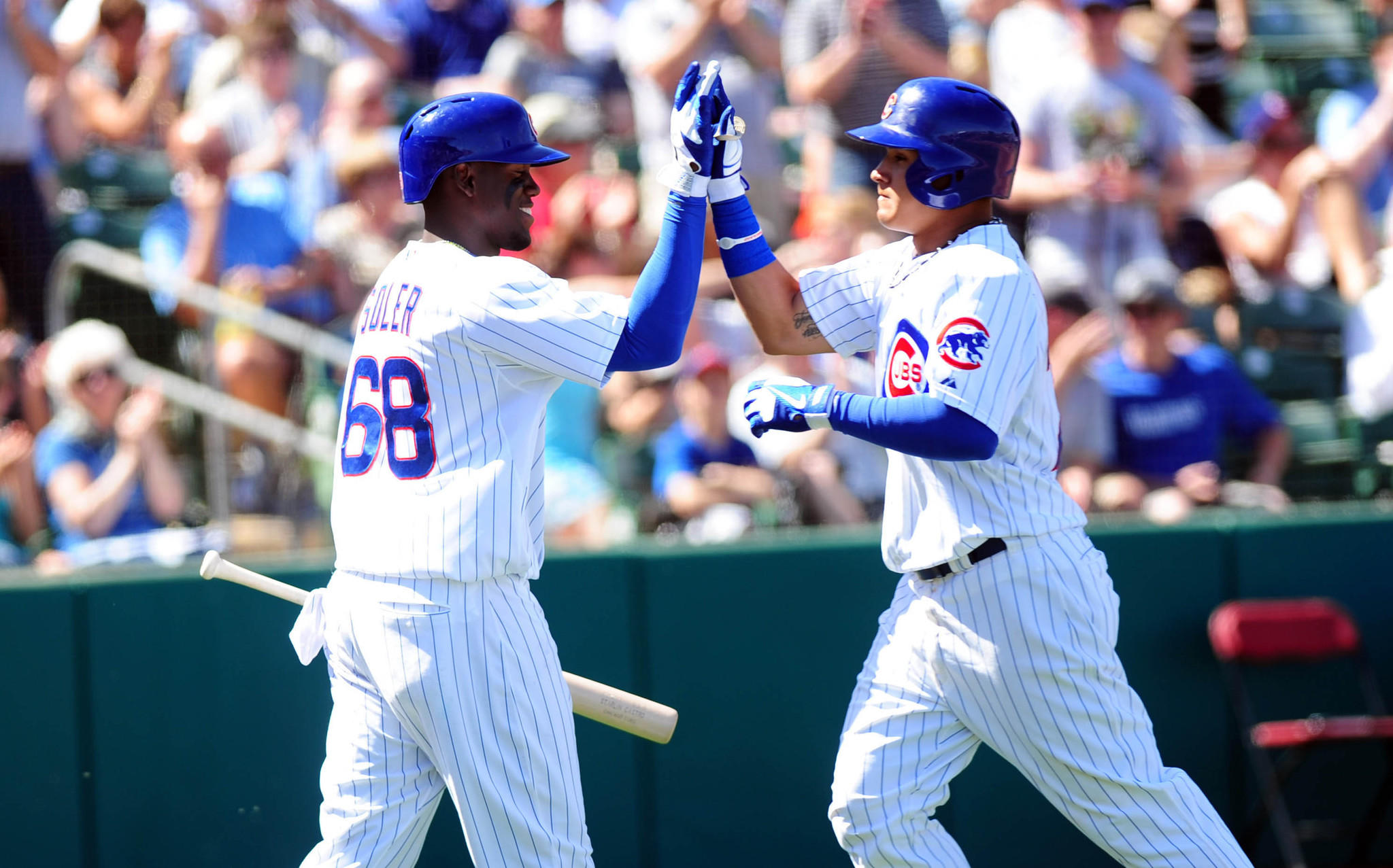 Chicago Cubs Javier Baez (right) and Jorge Soler during a spring training game in March.