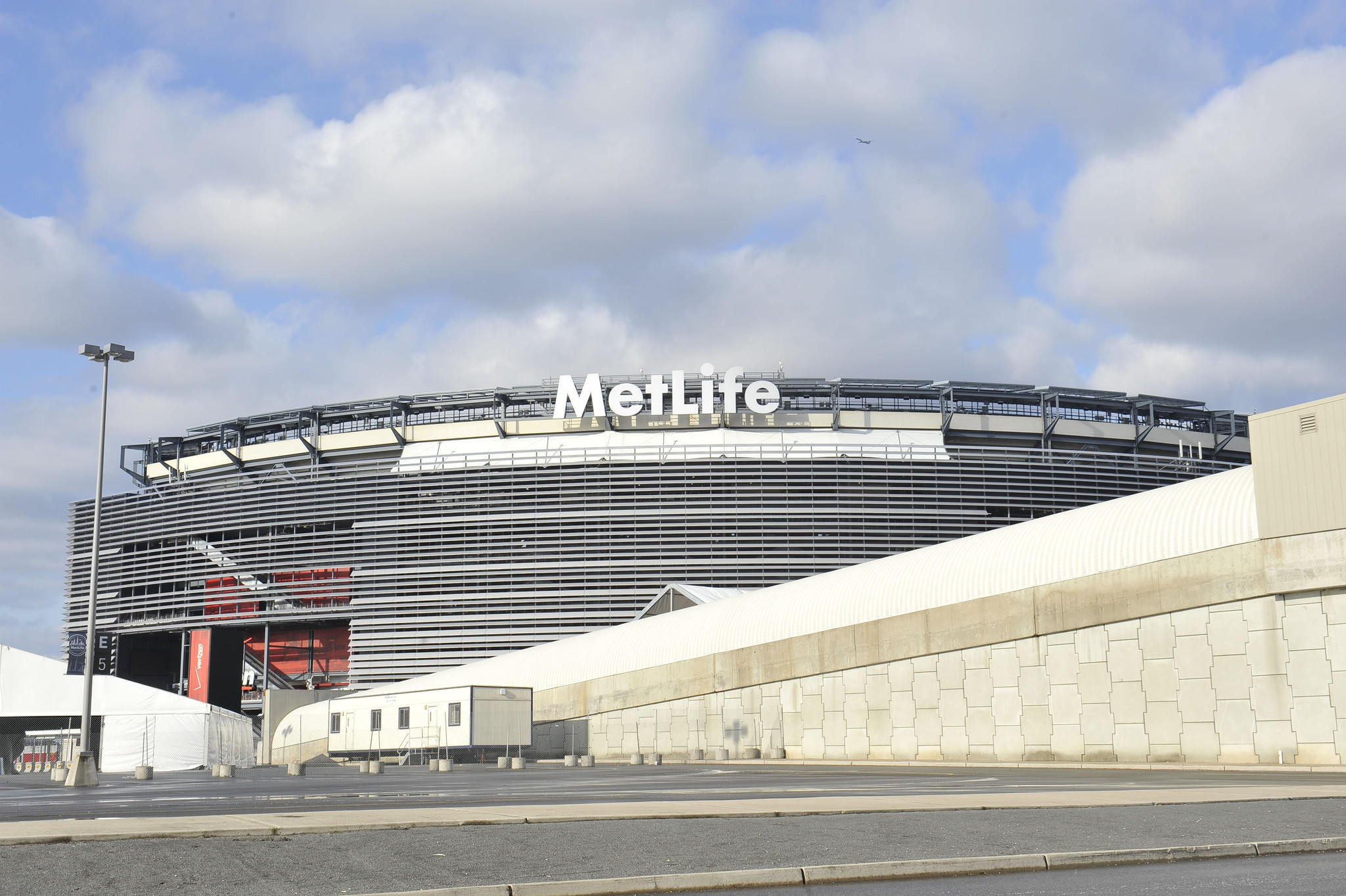 A general view of preparations for Super Bowl XLVIII at MetLife Stadium.