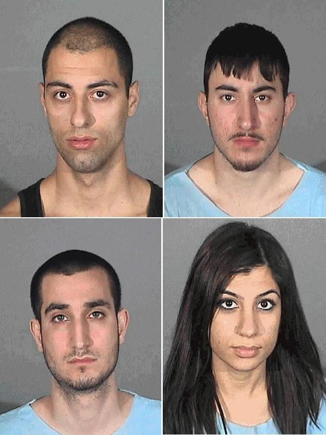 Four of the suspects are, clockwise, from top left: Araik Ovoian, 24, Gevork Bagdasaryan, 19, Agavni Manukyan, 21, Alex Akbari, 18