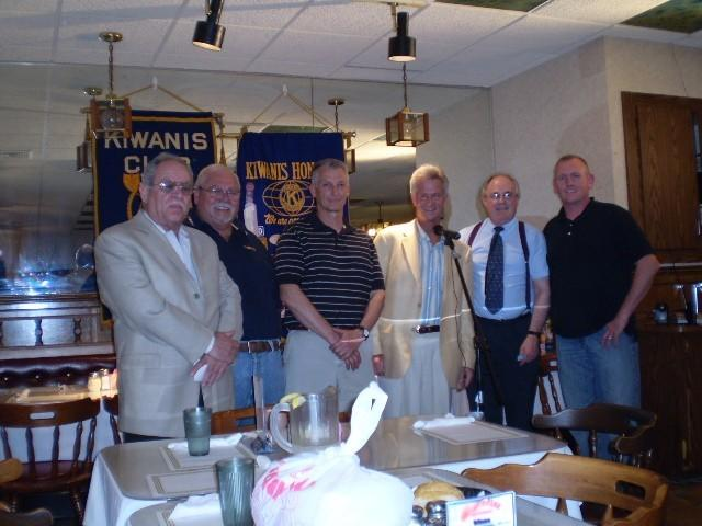 Kiwanis president-elect, Bob Seiler is pictured second from the left in 2009. He was standing alongside (left to right) Captain Mike Fox, past commander Newington VFW; Rodney Mortensen, former Newington mayor; Steve Parker, radio and TV personality; David Griffith, president of Newington Kiwanis; Iraq veteran former Staff Sgt. Jay White.