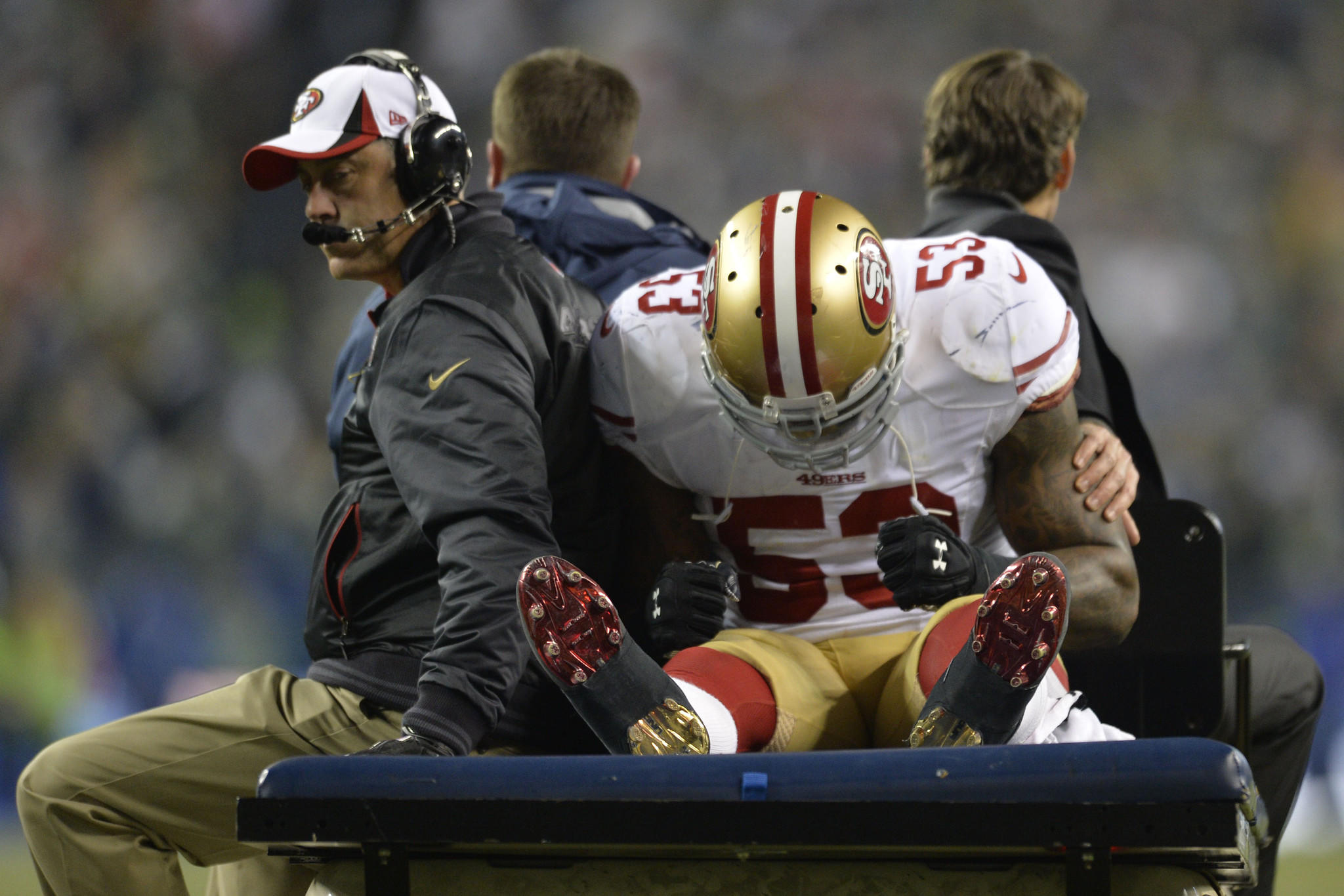 San Francisco 49ers inside linebacker NaVorro Bowman (53) is carted off the field.