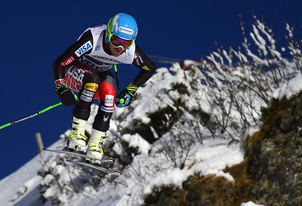 Ted Ligety competes in the downhill portion of a super-combined World Cup event in Wengen, Switzerland, on Friday. The American skier hopes to win gold in multiple events at the Sochi Winter Olympic Games.