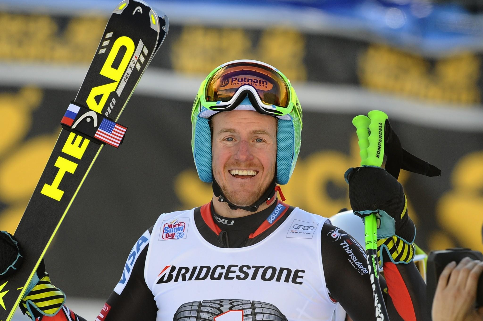 Ted Ligety of the USA takes 1st place during the Audi FIS Alpine Ski World Cup Men's Super Combined on January 17, 2014 in Wengen, Switzerland.