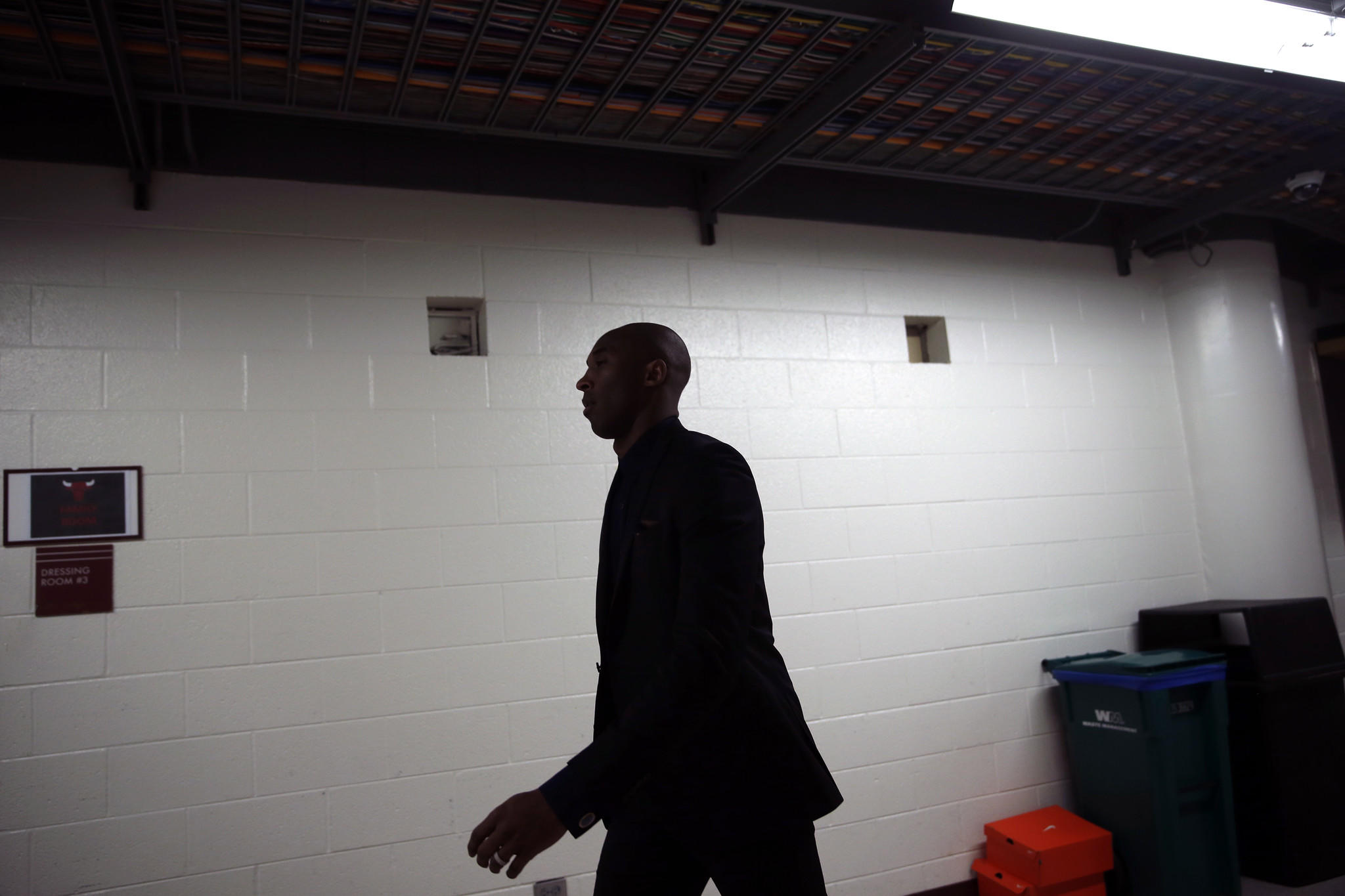 Los Angeles Lakers' Kobe Bryant heads to the locker room at half time of NBA game against Chicago Bulls at United Center.