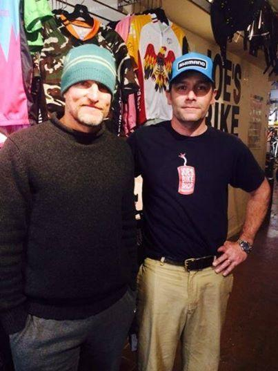 Actor Woody Harrelson stops into Joe's Bike Shop in Fells Point on a Friday evening.