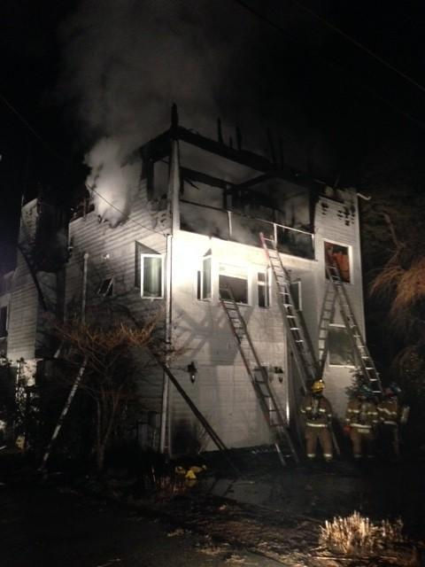 Anne Arundel County firefighters battled a blaze just after midnight in Shady Side.