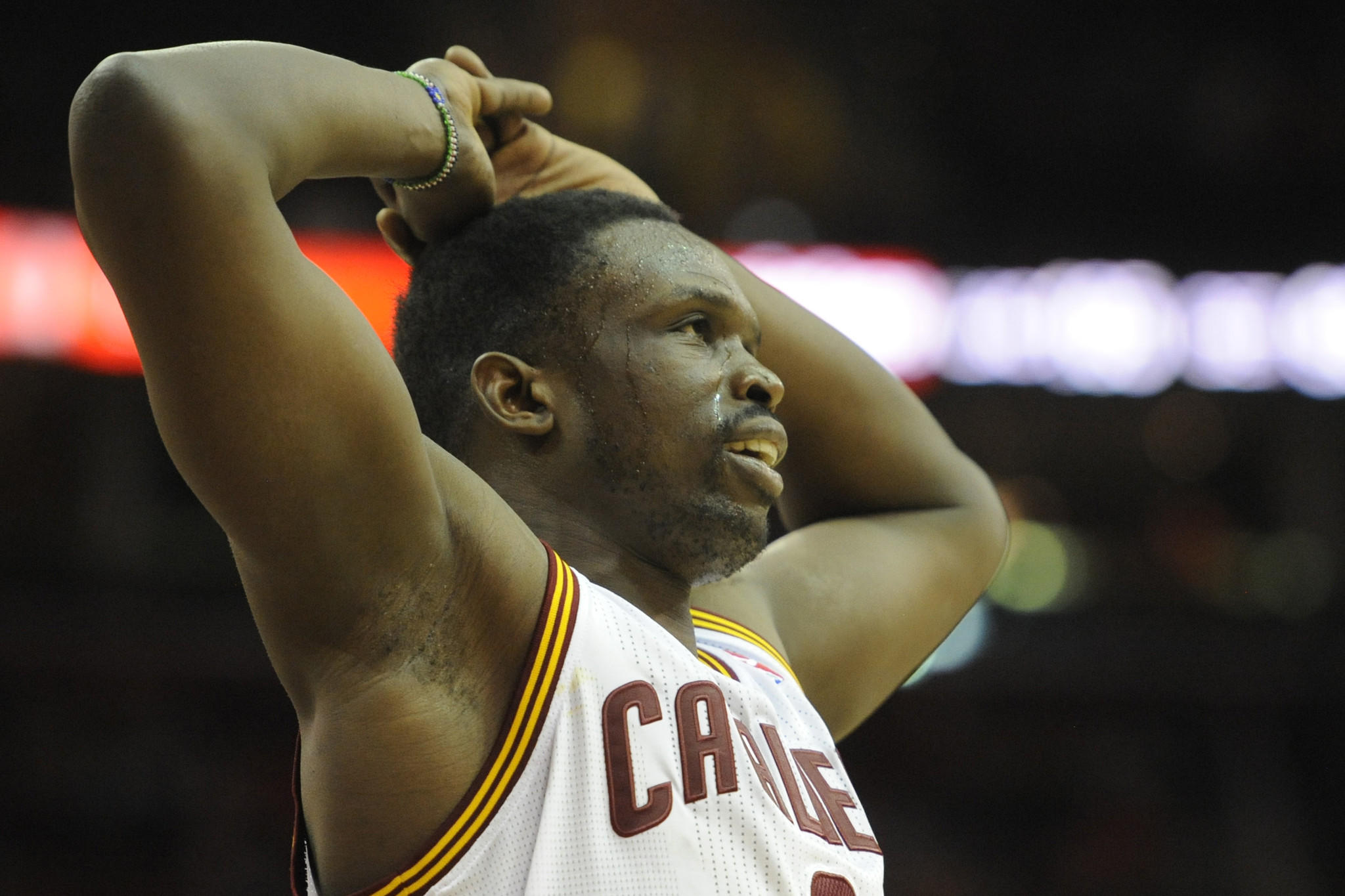 Cleveland Cavaliers small forward Luol Deng reacts in the fourth quarter against the Dallas Mavericks at Quicken Loans Arena.