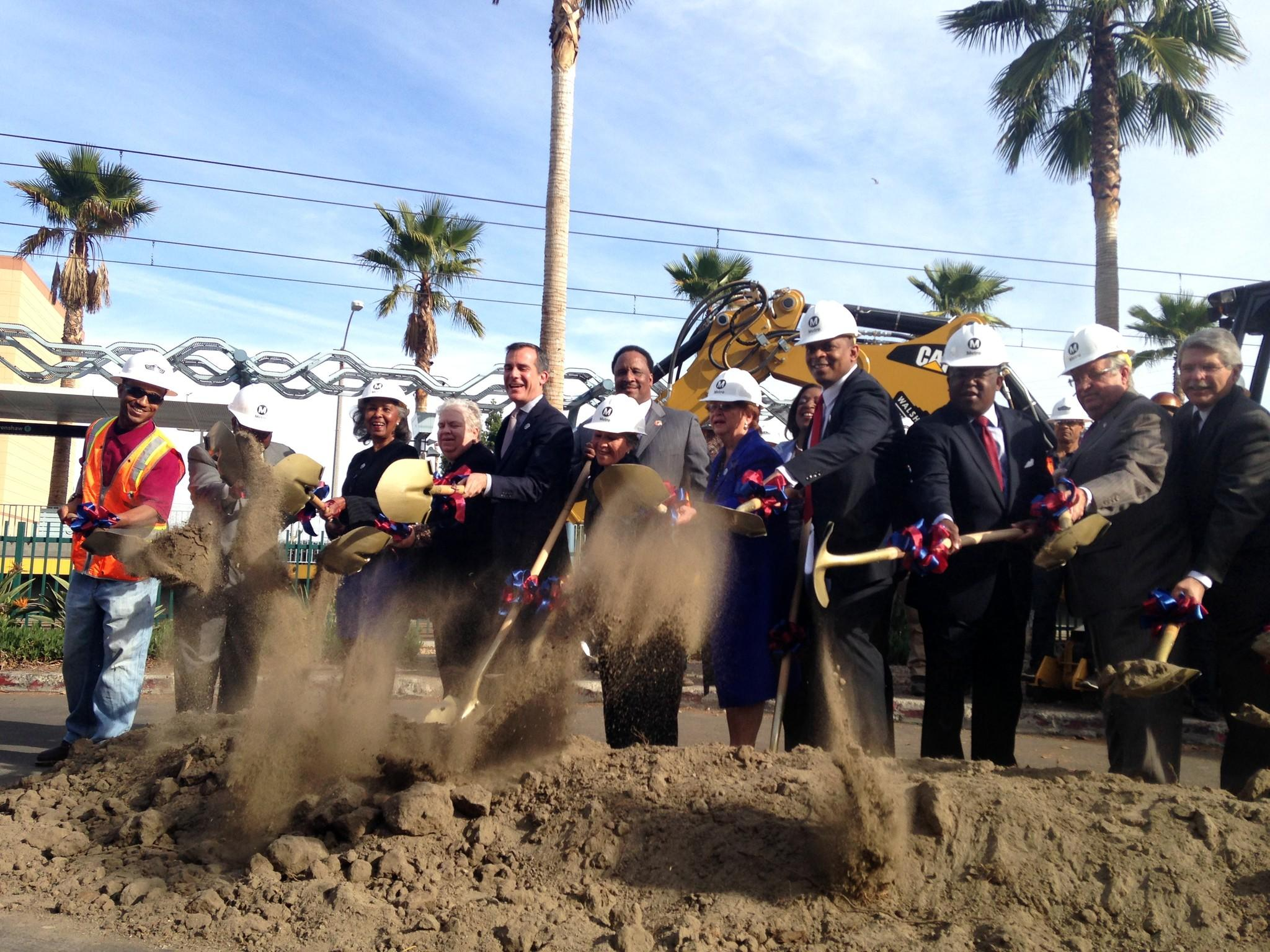 Officials, including Los Angeles Mayor Eric Garcetti and county supervisors, celebrated the groundbreaking of the Crenshaw Line.