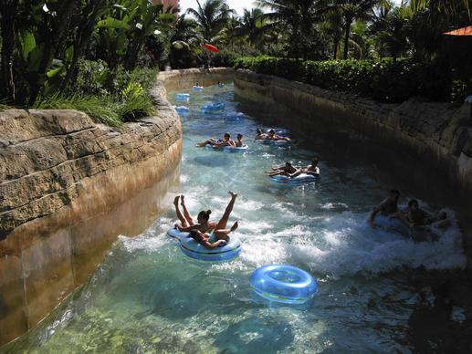 Tubing down the whitewater ride at Atlantis resort on Paradise Island, Bahamas.