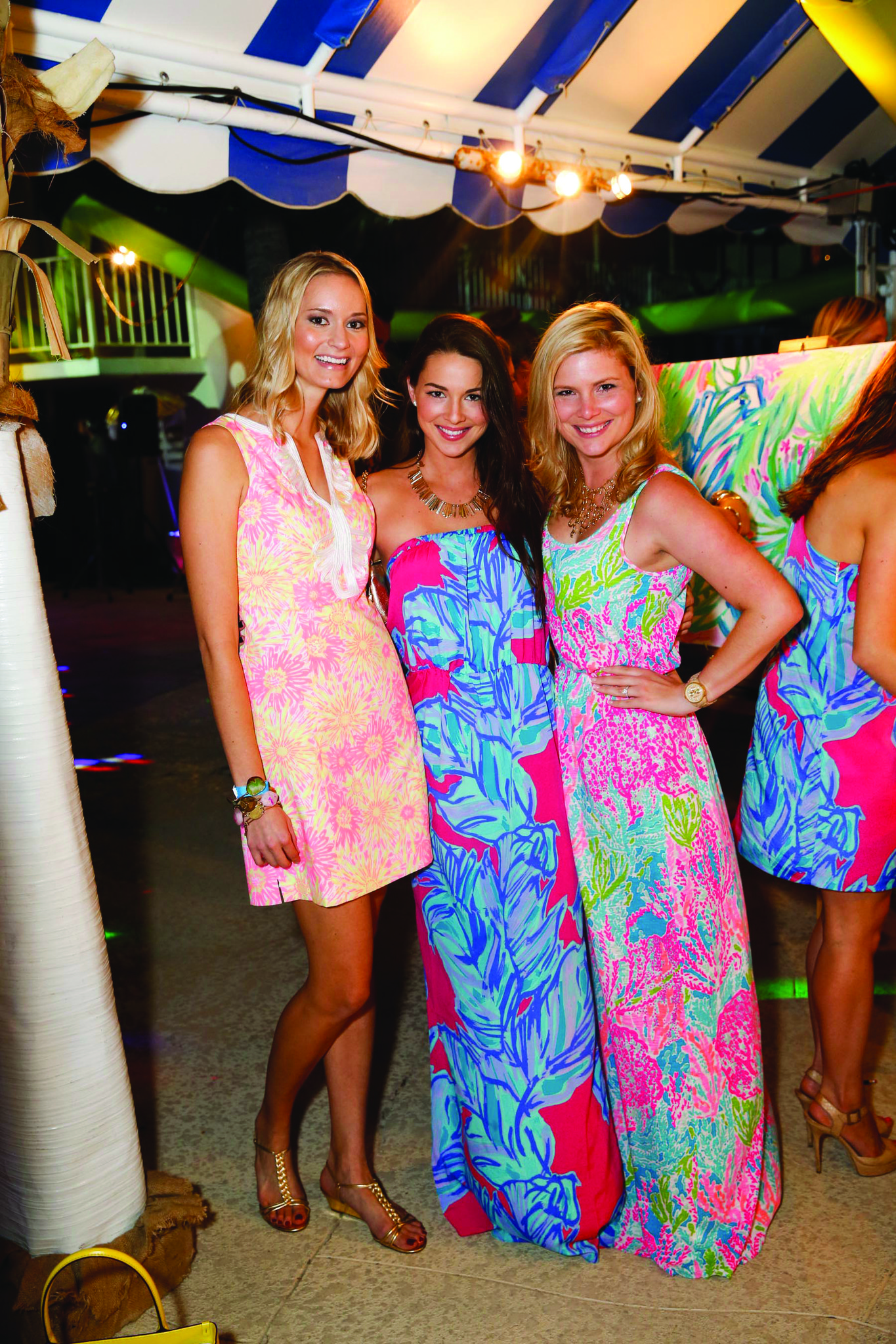 """Society Scene photos - Kelli Jackson, left, Jennifer Saviano and Nicole Saviano looked pretty in pink at the 2013 American Red Cross """"Beach Bash,"""" where more than 650 of Palm Beach"""