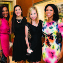 """Dr. Pamela Love, left, Leah Yablong, Emily Sawyer and Jillian Kaiser were dressed to impress for OMEGA's new boutique on Worth Avenue in Palm Beach, in honor of the Young Friends of the Norton's holiday party, """"The Most Wonderful Time of the Year."""""""