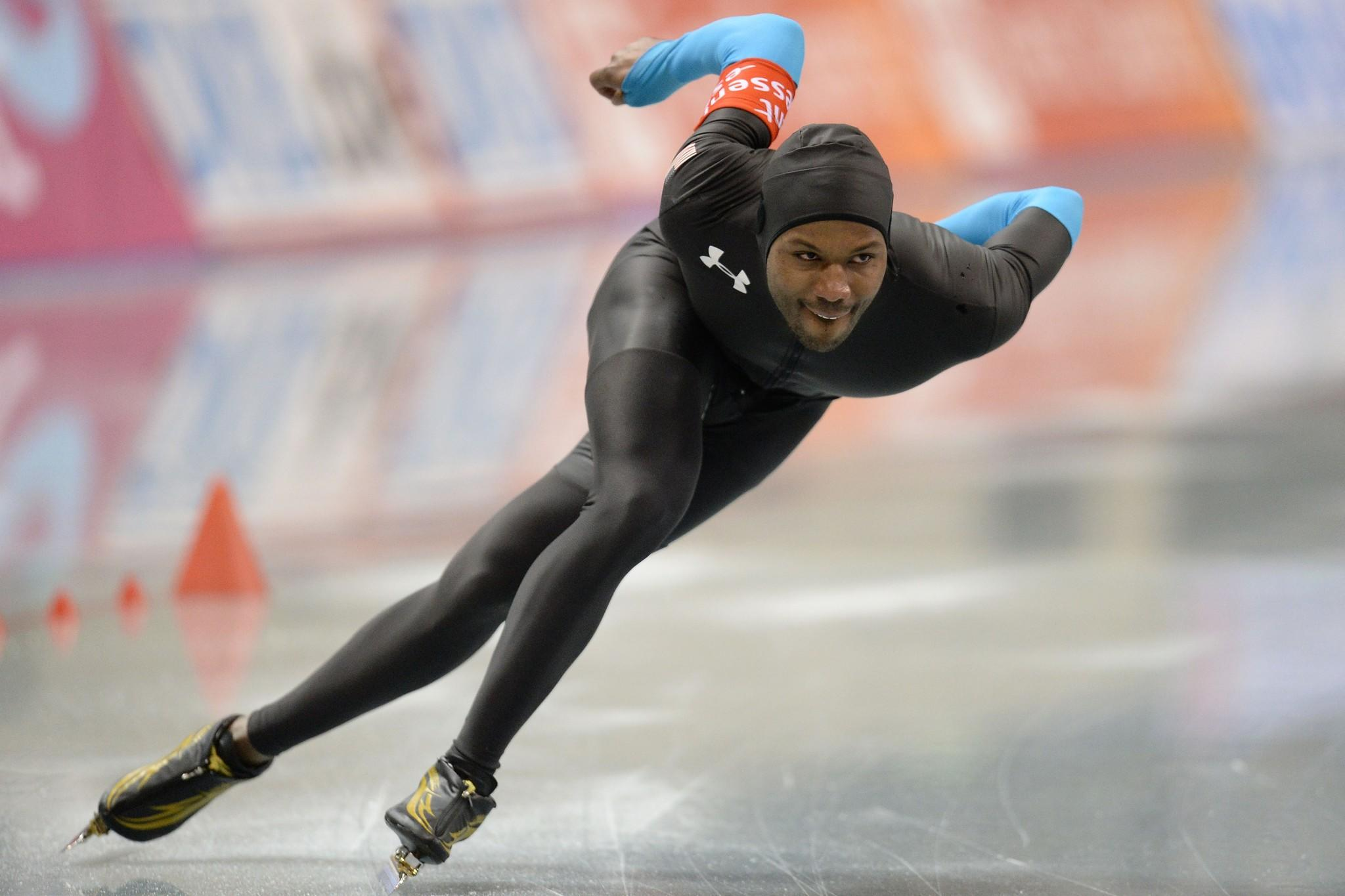 Shani Davis of USA competes in men 1000m during Essent ISU World Sprint Speed Skating Championships 2014 at M Wave on January 18, 2014 in Nagano, Japan.