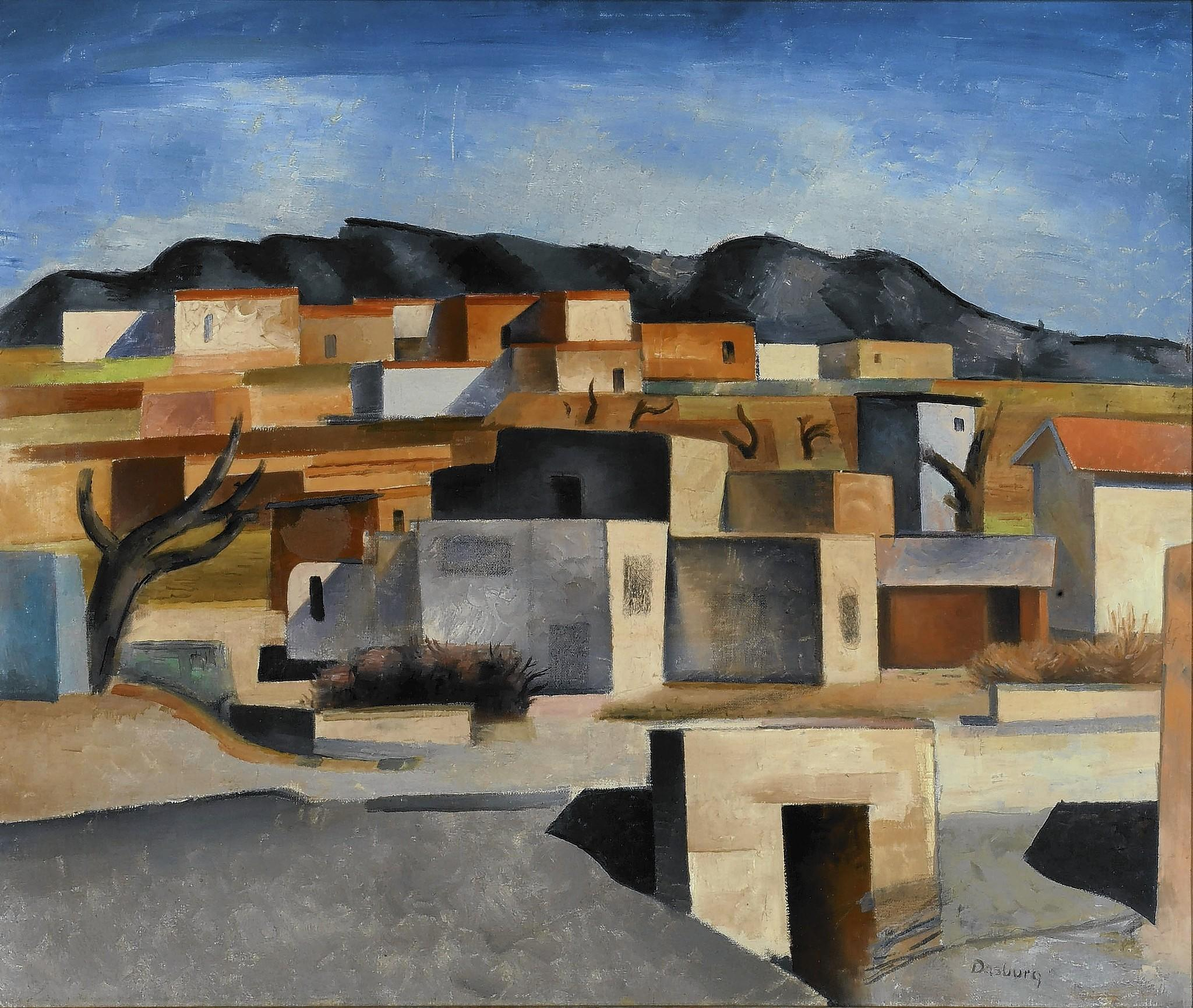 """Pueblo Village (New Mexico Village, Adobe Village"" by Andrew Dasburg."