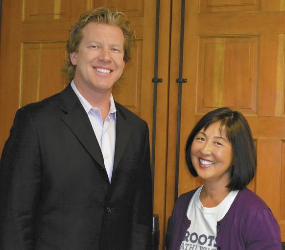 """Thurston Middle School teachers Carl Nelson (left) and Ina Inouye """"Wu"""" each earned an advanced credential from the National Board Certification of Teachers last November. Nelson and Wu, who teach social science and science, respectively, were two of six instructors from Orange County and among 346 statewide to earn the honor."""