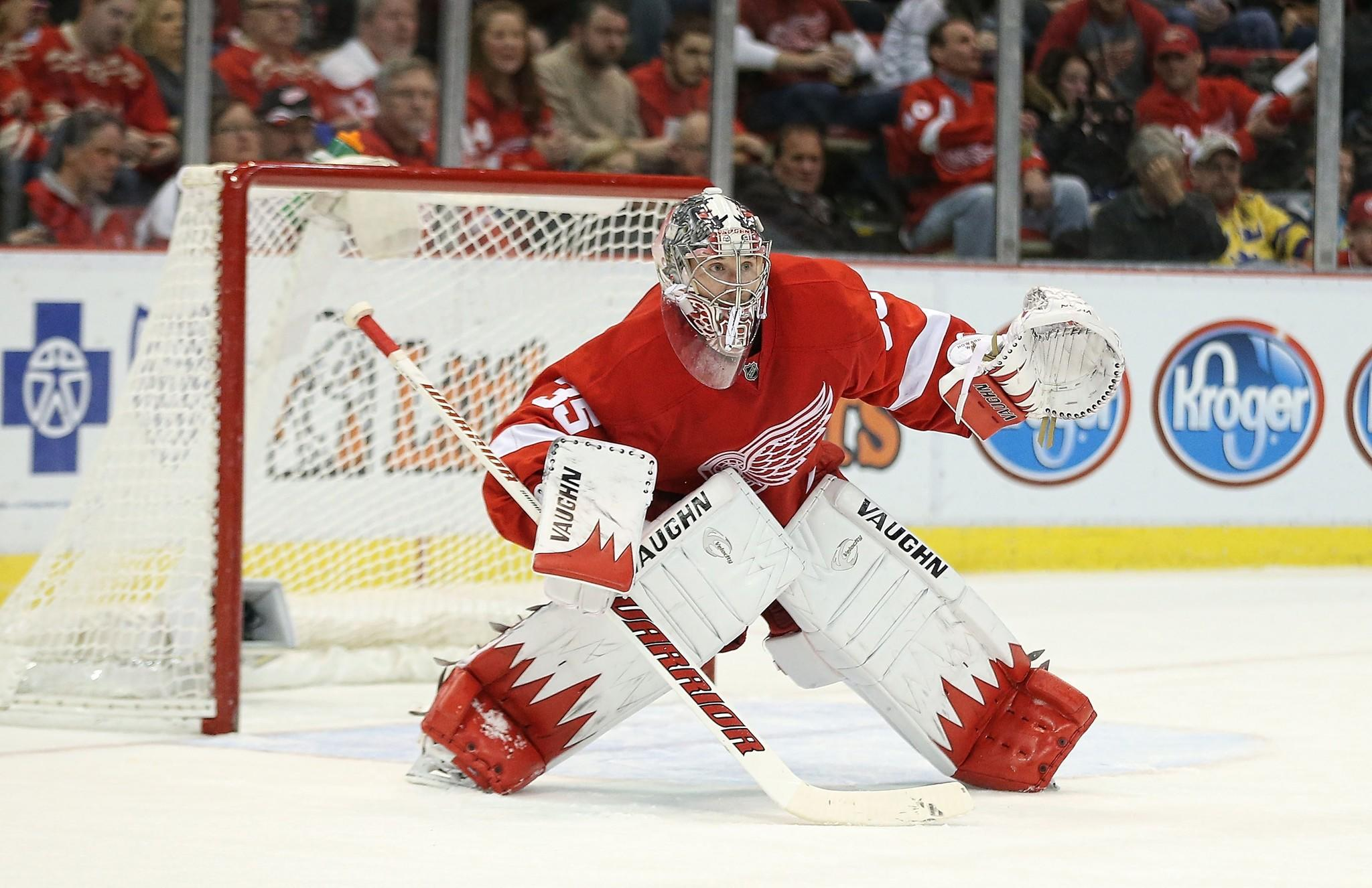Jimmy Howard looks for the puck during the second period against the Kings.