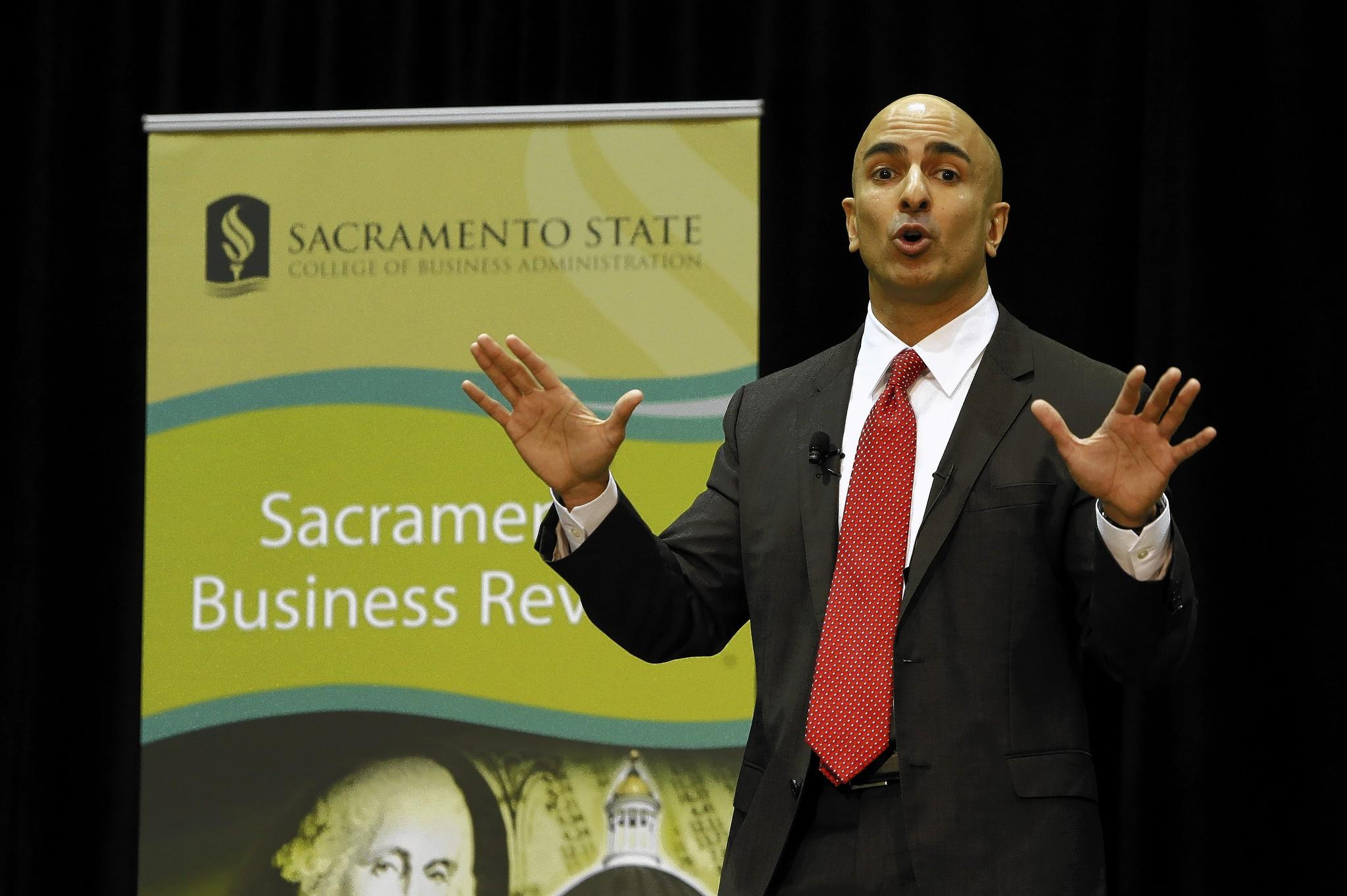 Neel Kashkari announces his candidacy for California governor while giving the keynote speech at the Sacramento Business Review at Cal State Sacramento. He said his platform will be jobs and education.