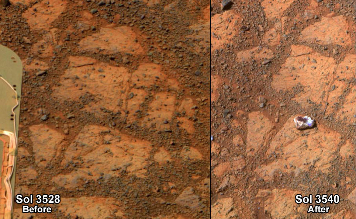 A screen shot from Steve Squyres' presentation on Opportunity's 10 years on Mars shows a rock shaped like a jelly doughnut on the right.