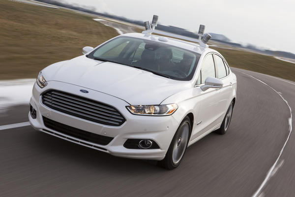 A Ford Fusion hybrid test car used in research on automated driving and other advanced technologies.