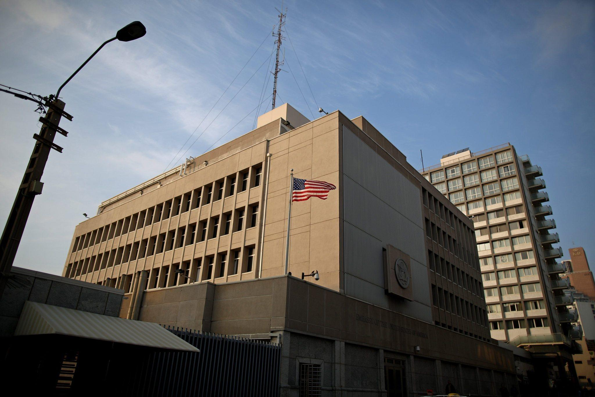 A general view of the US Embassy in Tel Aviv, Israel. Reports state that Israeli security agency Shin Bet uncovered a terror cell in Israel linked to al-Qaeda that allegedly planned a terror attack on the US embassy in Tel Aviv.