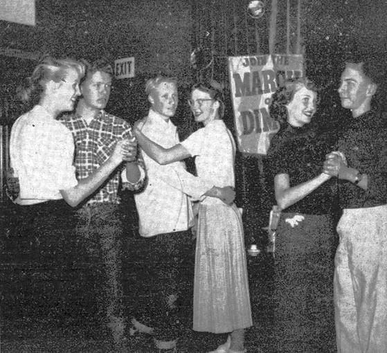 Having a good time at the La Cañada Youth House while raising money for the March of Dimes in January 1954 were junior high students, from left, Carol White, Mark Dietrick, Bob McCaffrey, Nancy Alexander, Nancy Smith and John Paxson.