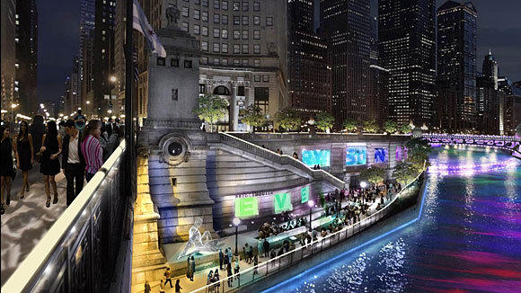 Mayor Rahm Emanuel hopes a Riverwalk lighting projects help boost tourism this year.