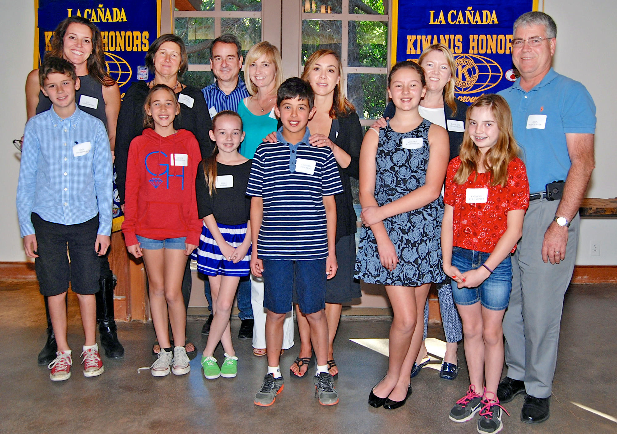 "Six Palm Crest Elementary School students were honored as ""Terrific Kids"" by the Kiwanis Club of La Cañada this month. Shown from left to right, with their parents standing behind them, are: Nick Myskowski, Grace Bernstein, Elsa Sheehy, Carsten Peterson, Kristin Kilaghibian and Kathryn Wolhaupter."