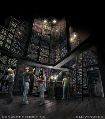 OLLIVANDERS - Ollivanders wand shop is an incredible interactive experience where the wand chooses the wizard.Early conceptual rendering of Ollivanders, located in Hogsmeade.
