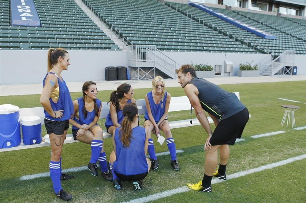 Juan Pablo loves soccer, as the women are well aware. Renee, Sharleen, Alli, Andi, Christy and Juan Pablo discuss strategy.