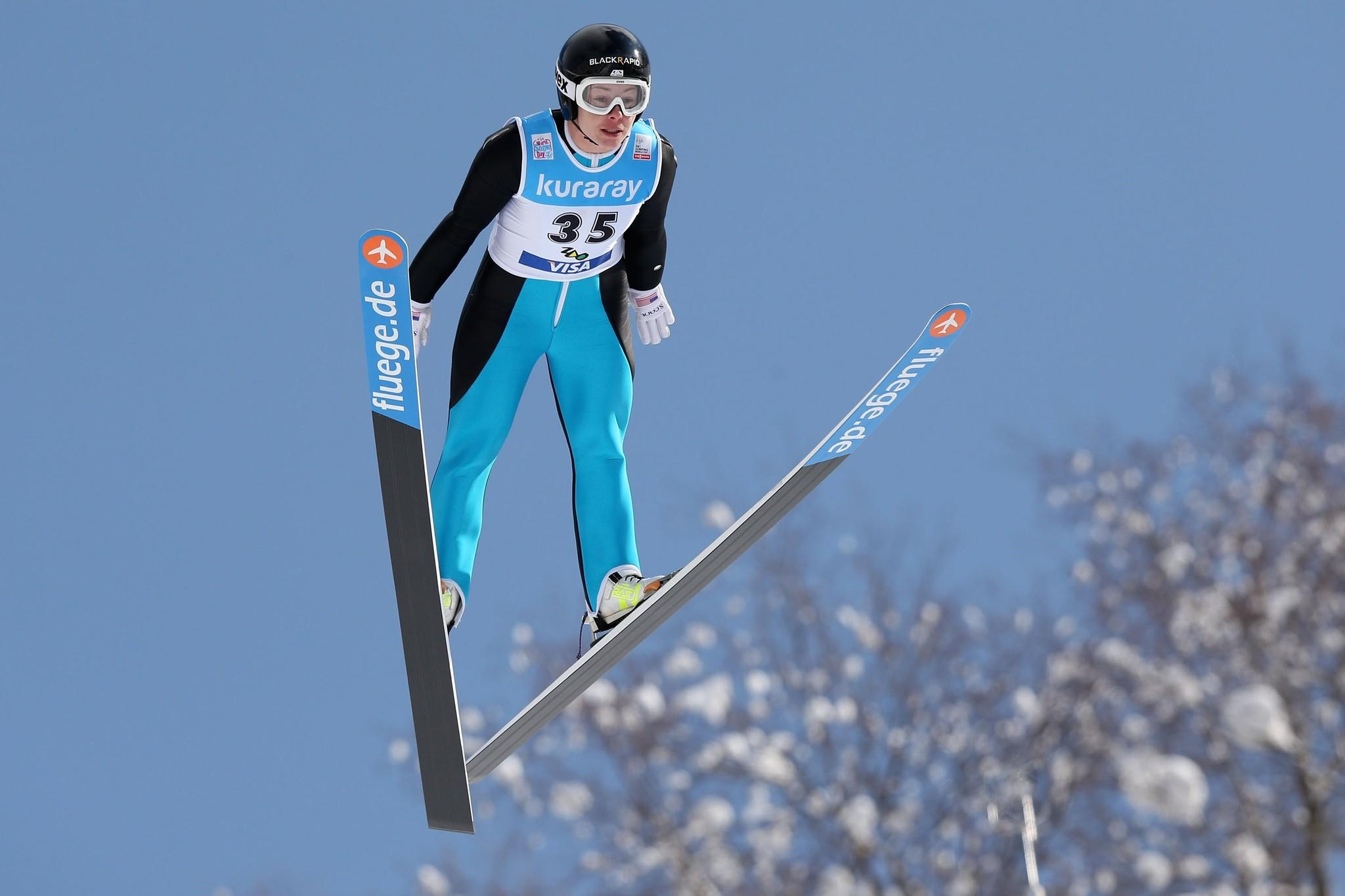 Lindsey Van competes in the Normal Hill Individual 1st round during the FIS Women's Ski Jumping World Cup Zao at Zao Jump Stadium.