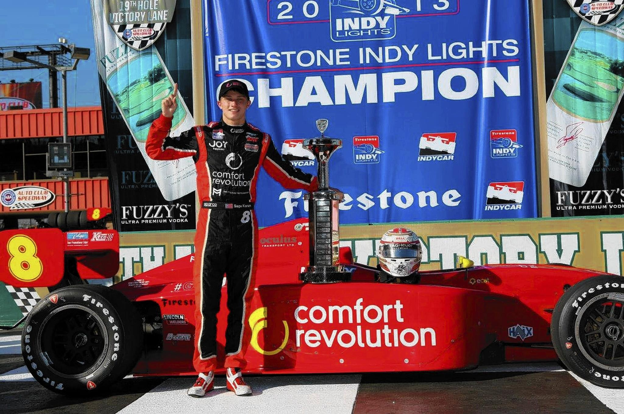 Sage Karam after the race Saturday at Auto Club Speedway in Fontana, California.