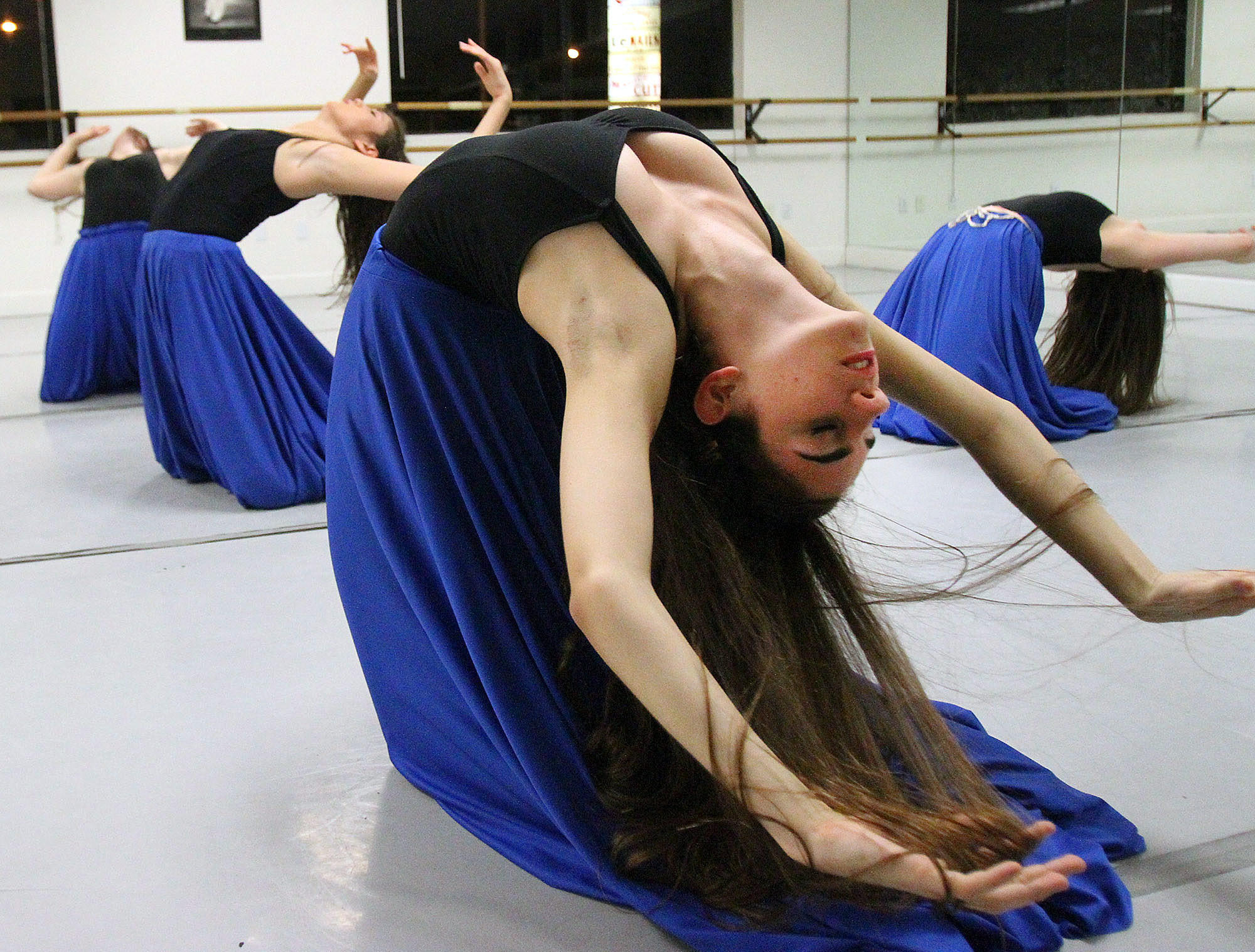 """Tenie Avanessian, 18, of Glendale, rehearses a scene from """"Priceless Soul, A Tribute to the Life of Albert Djanbazian"""" at Ajanbazian Dance Foundation in La Crescenta on Tuesday, January 21, 2014. The dance, which was choreographed by Anna Djanbazian for her brother Albert who succumbed to cancer, will be performed at Glendale Community College on Sunday, January 26th."""