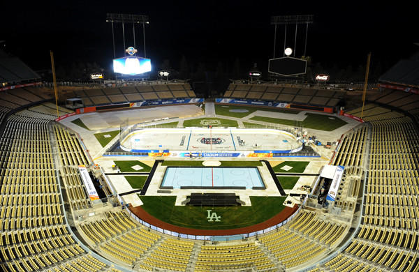 A view of the ice rink at Dodger Stadium, which will host Saturday's NHL Stadium Series game between the Kings and Ducks.