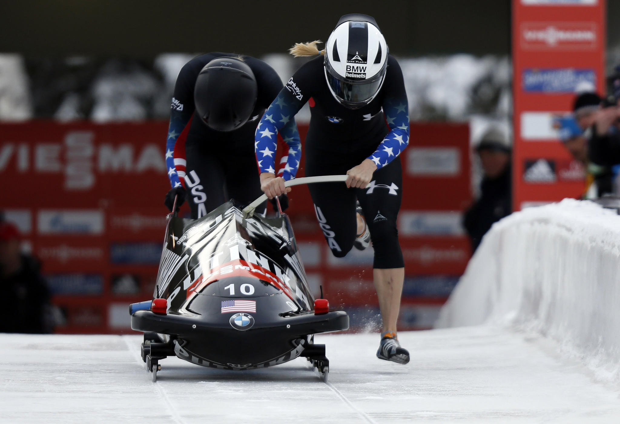 Third place finishers Jamie Greubel and Katie Eberling of the United States during the IBSF women's bobsleigh World Cup at Utah Olympic Park.