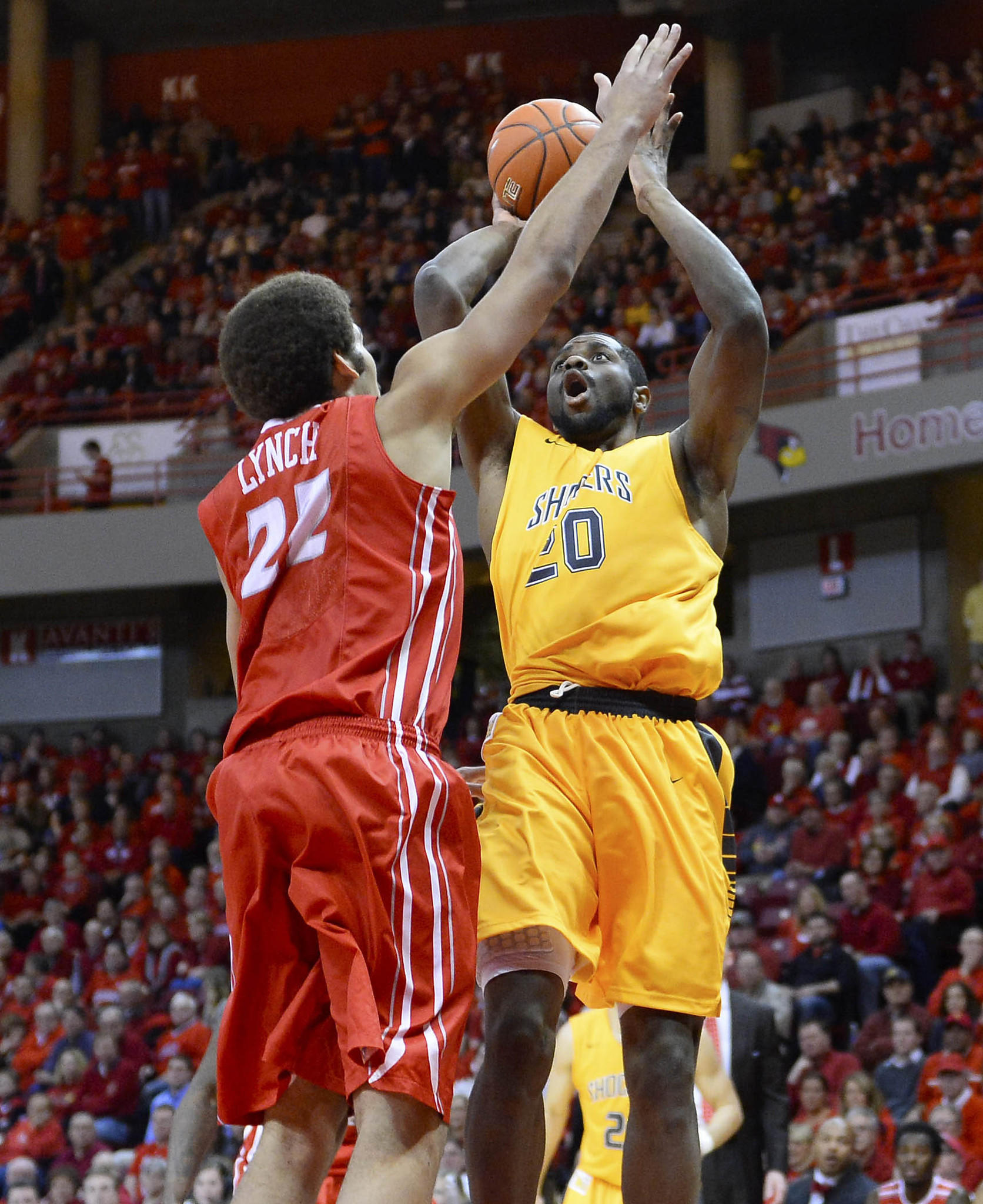 Wichita State's Kadeem Coleby shoots the ball against Illinois State's Reggie Lynch during the first half at Redbird Arena.
