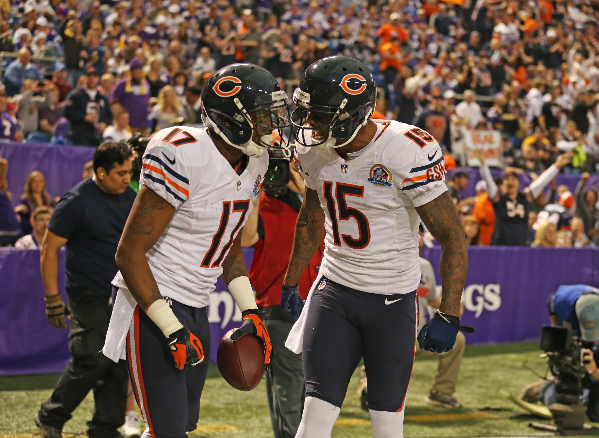 Wide receiver Alshon Jeffery celebrates with Brandon Marshall after with his touchdown against the Vikings.