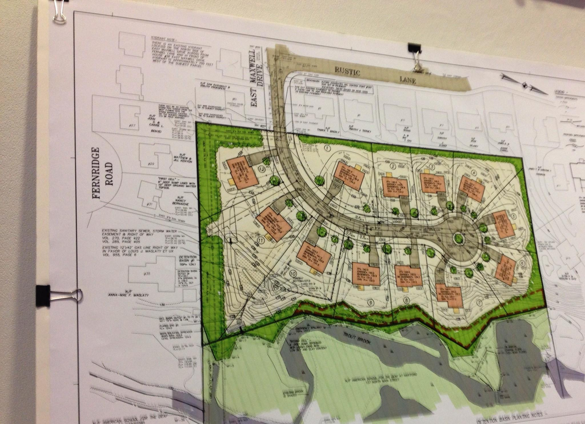 This plan for a 12-lot subdivision on 5.53 acres at the rear of American School for the Deaf land was shown at the Jan. 6 town plan and zoning commission meeting. It has changed slightly since then.  The commission's decision on the controversial development has been delayed until Feb. 3.