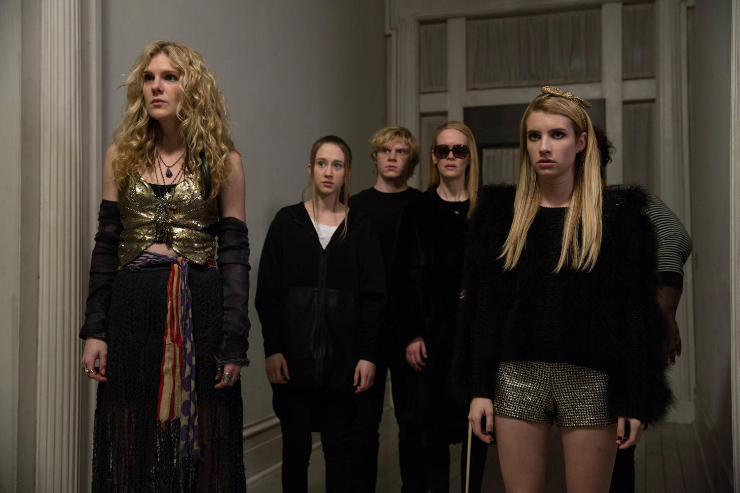 L-R: Lily Rabe as Misty Day, Taissa Farmiga as Zoe, Evan Peters as Kyle, Sarah Paulson as Cordelia, Emma Roberts as Madison.